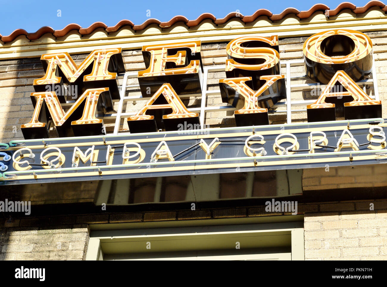 Misomaya Mexican Restaurant Sign In Downtown Dallas Texas