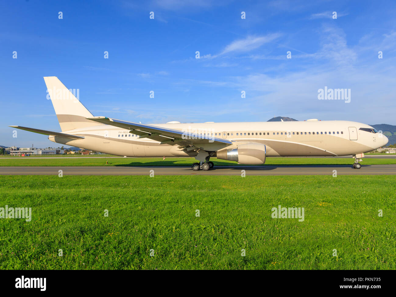 Salzburg/Germany March 10, 2018: Boeing 767 from Roman Abramowitsch - Stock Image