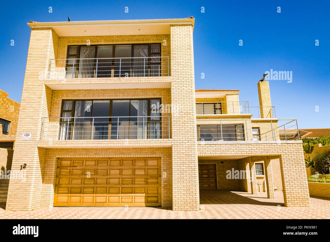Yellow Brick Stark Modern House In Mossel Bay South Africa Stock