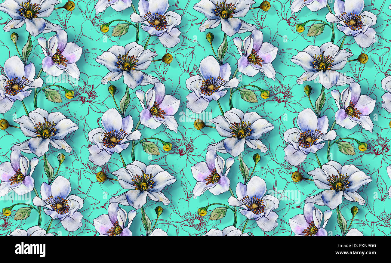 Seamless Pattern Light Flowers On A Background Wallpaper Or For Fabric Making Textile Design Interior