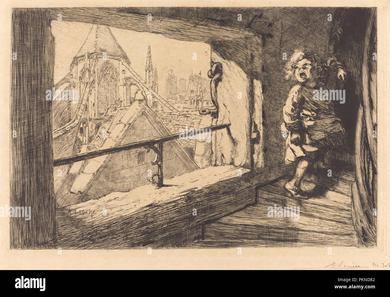 Les toits de Saint-Severin. Dated: 1889. Medium: etching. Museum: National Gallery of Art, Washington DC. Author: Auguste Lepere. Stock Photo