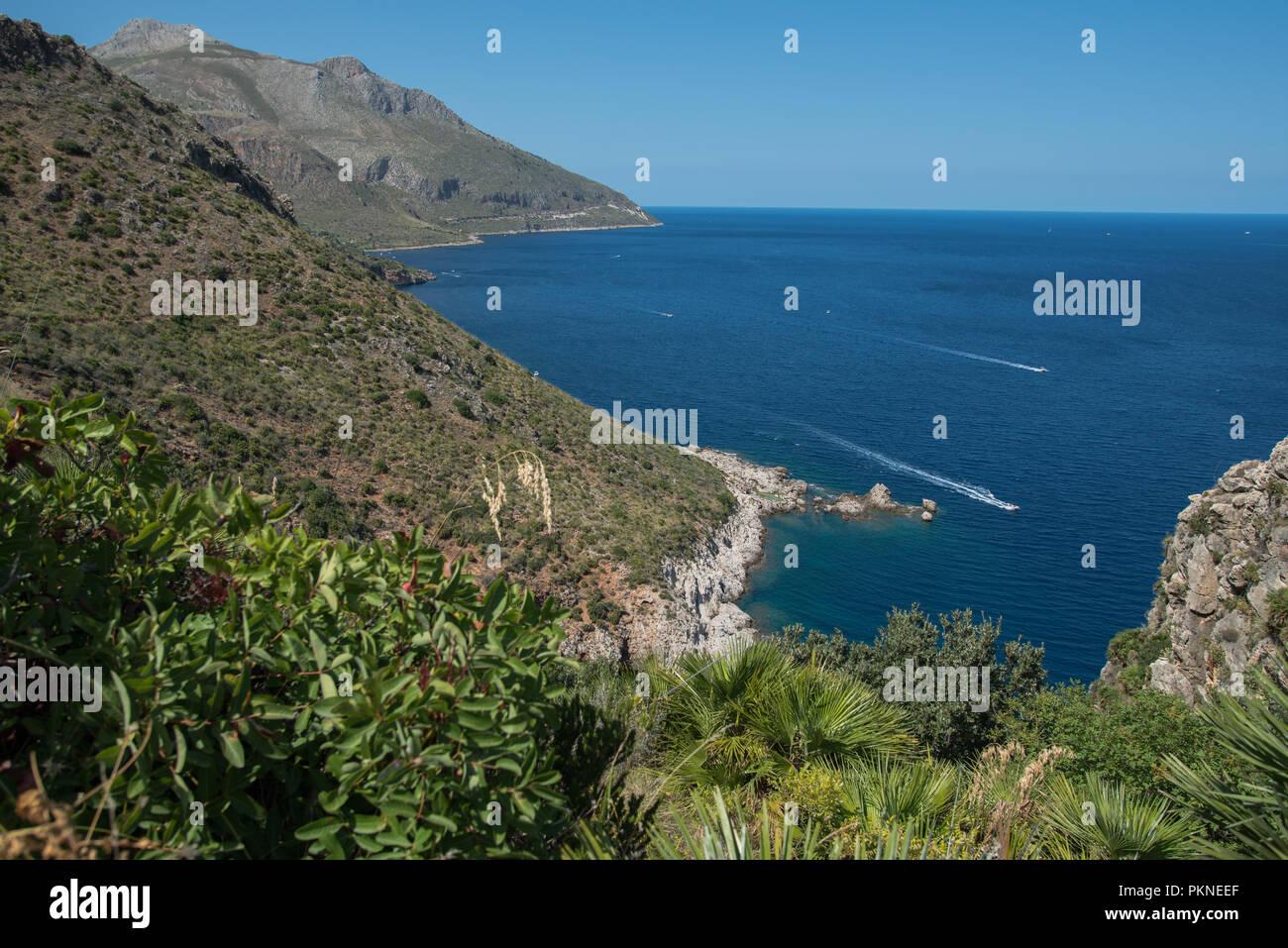 Küste im Zingaro Nationalpark auf Sizilien - Stock Image