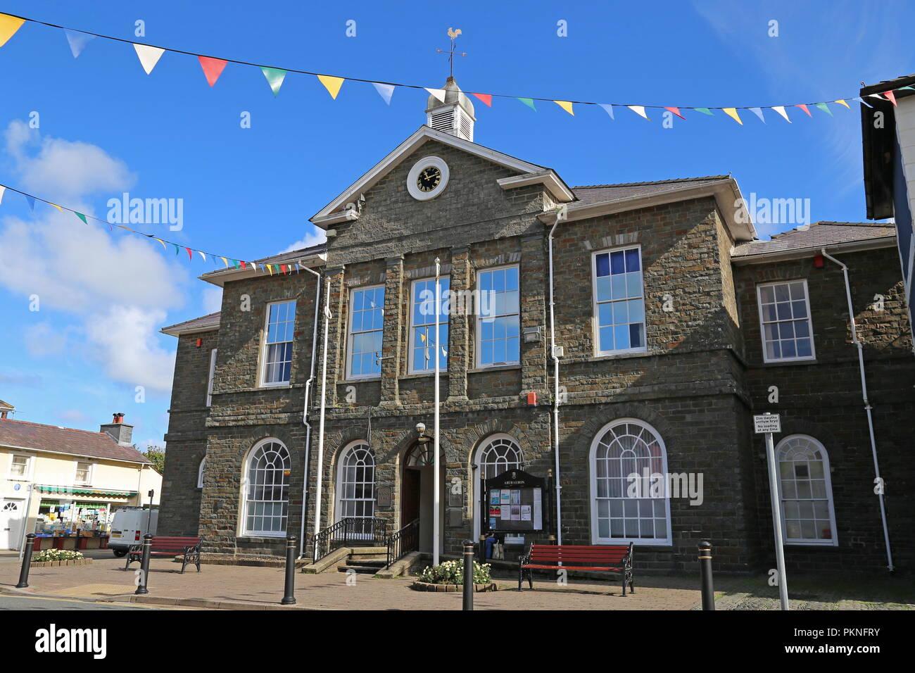 Ceredigion County Hall, Market Street, Aberaeron, Cardigan Bay, Ceredigion, Wales, Great Britain, United Kingdom, UK, Europe - Stock Image