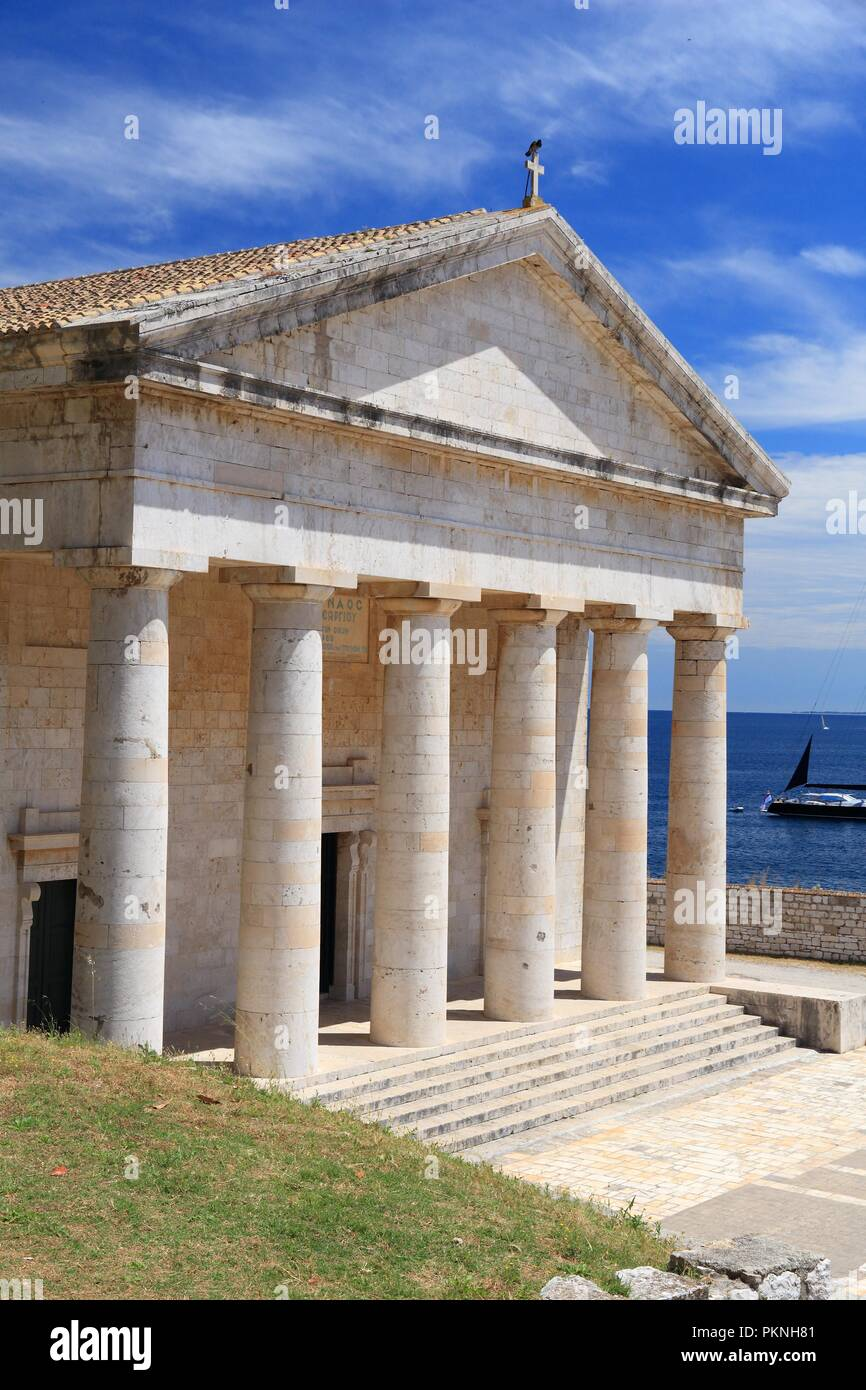 Corfu Old Town (Kerkyra) - UNESCO World Heritage Site in Greece. Saint George Temple at the Old Fortress. - Stock Image