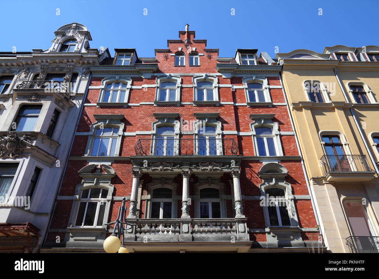 Katowice, Poland - vintage apartment building, old landmark - Stock Image