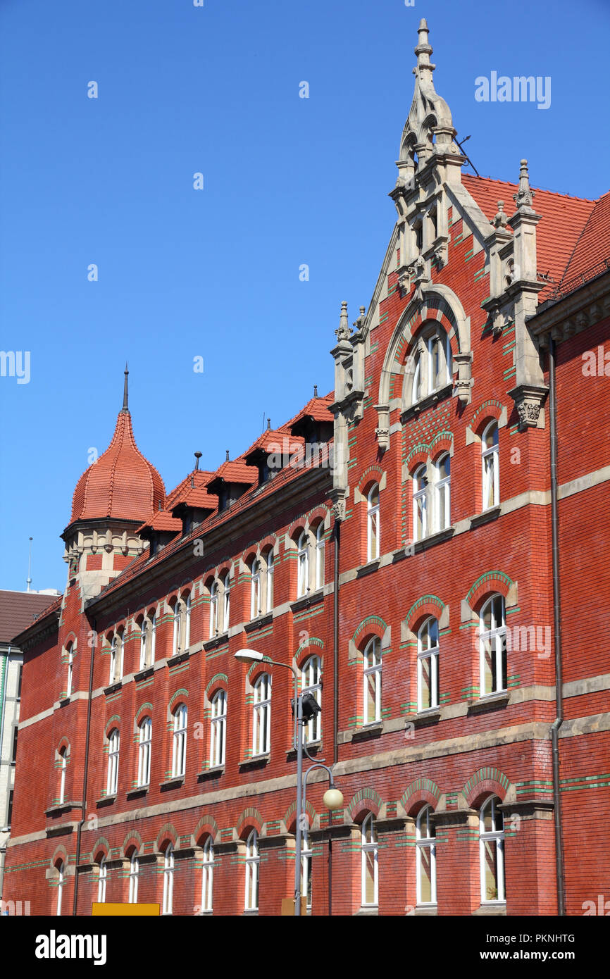 Katowice, Poland - high school building, old landmark Stock Photo