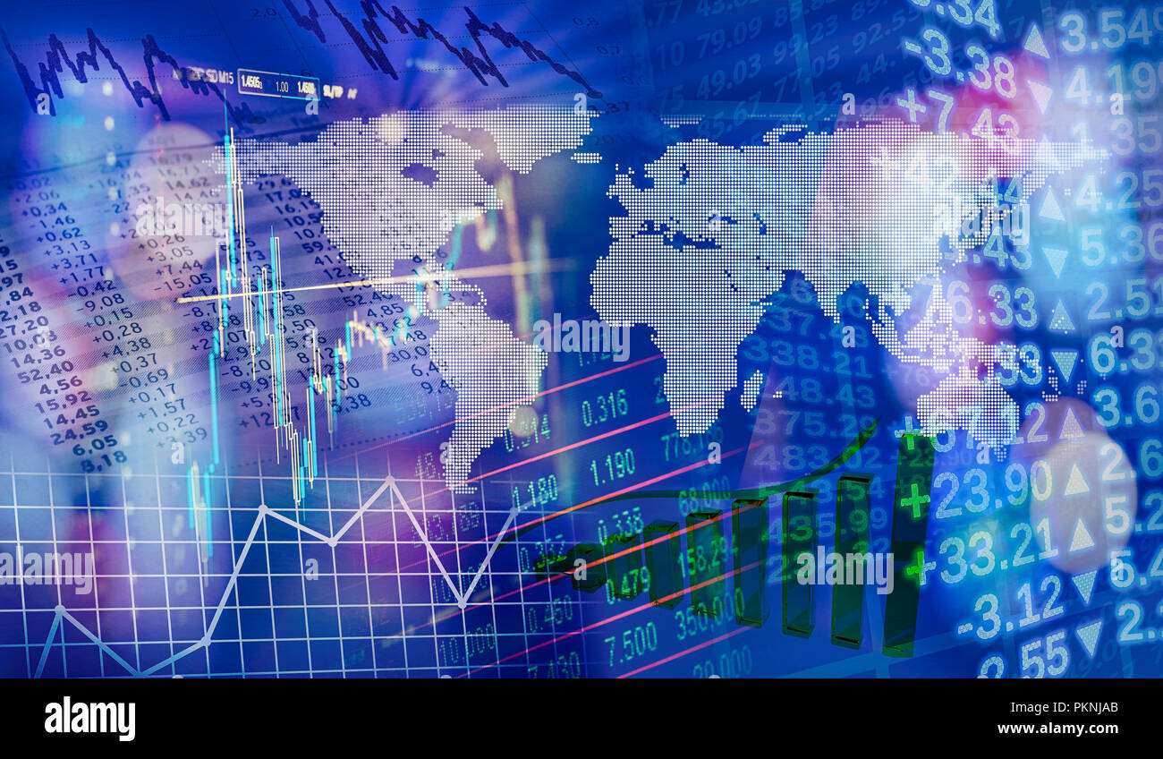 World map with charts and graphs as symbols of global finance - Stock Image