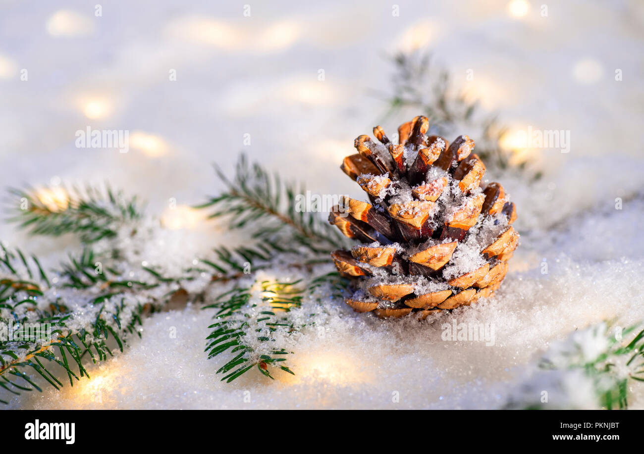 Branch of a conifer with snow landscape and many lights - Stock Image