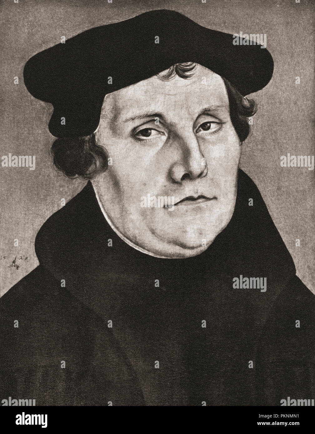 Martin Luther, 1483 - 1546.  German professor of theology, composer, priest, monk, and a seminal figure in the Protestant Reformation. - Stock Image
