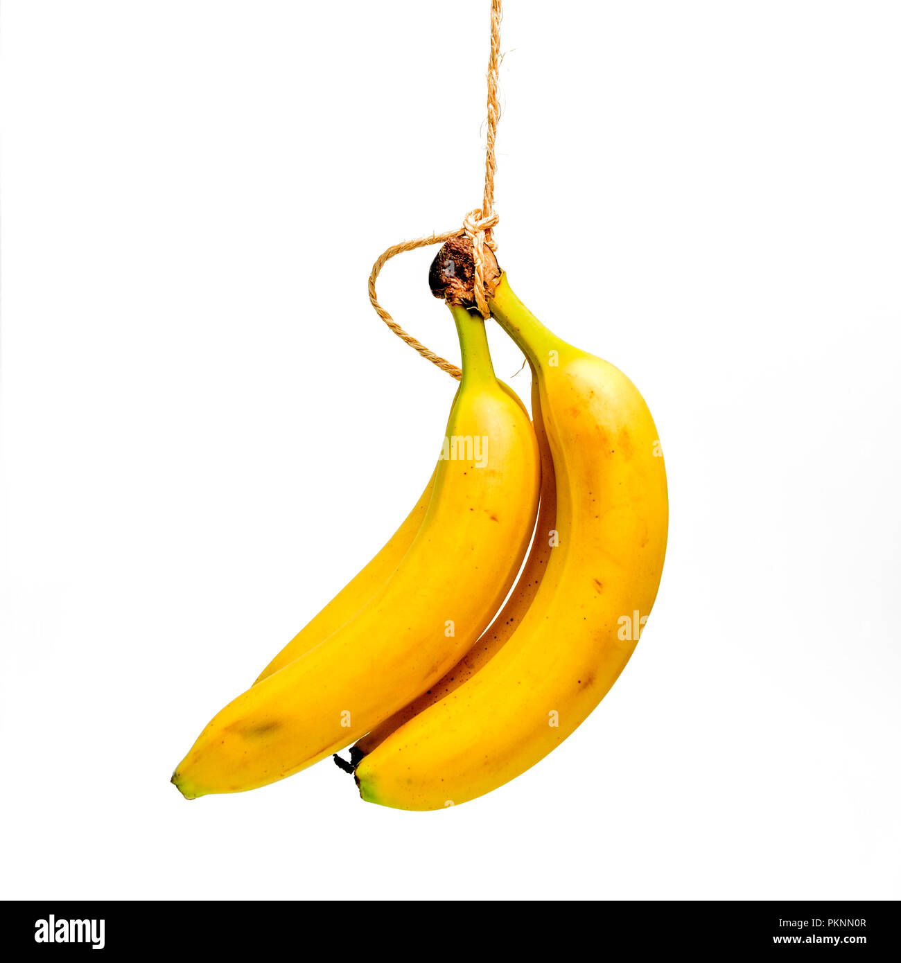 Bananas on a white background, cutout - Stock Image