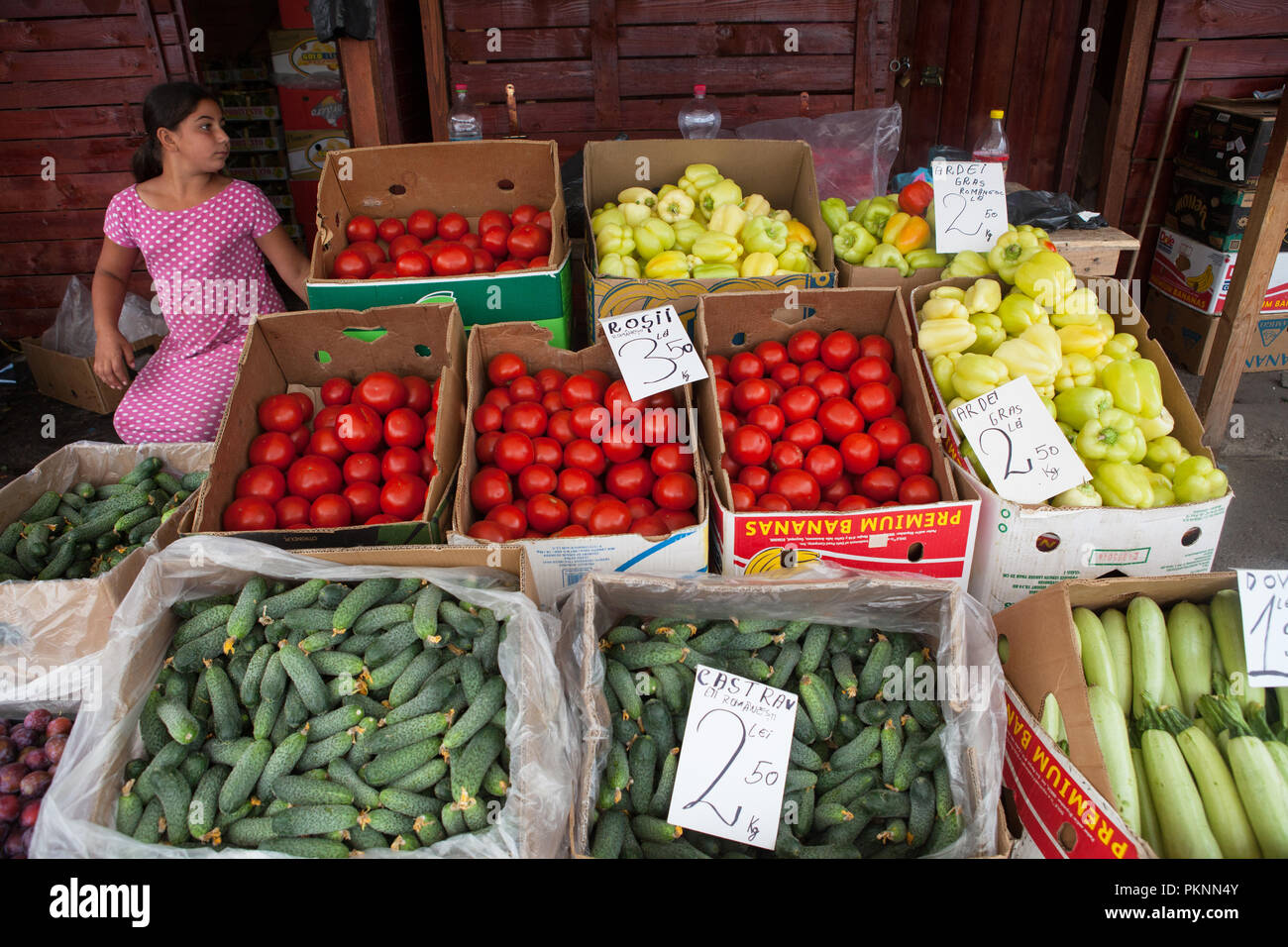 Vegetable stall in the Obor Market in Bucharest, Romania Stock Photo