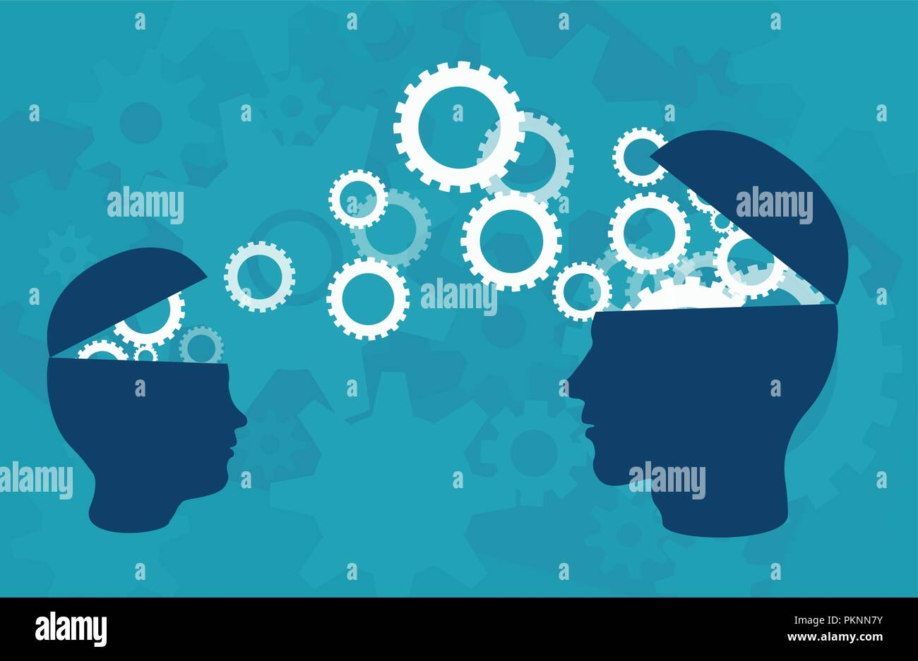 Knowledge transfer concept. Vector of two head silhouette of adult person and a child sharing knowledge, ideas, over blue background - Stock Image