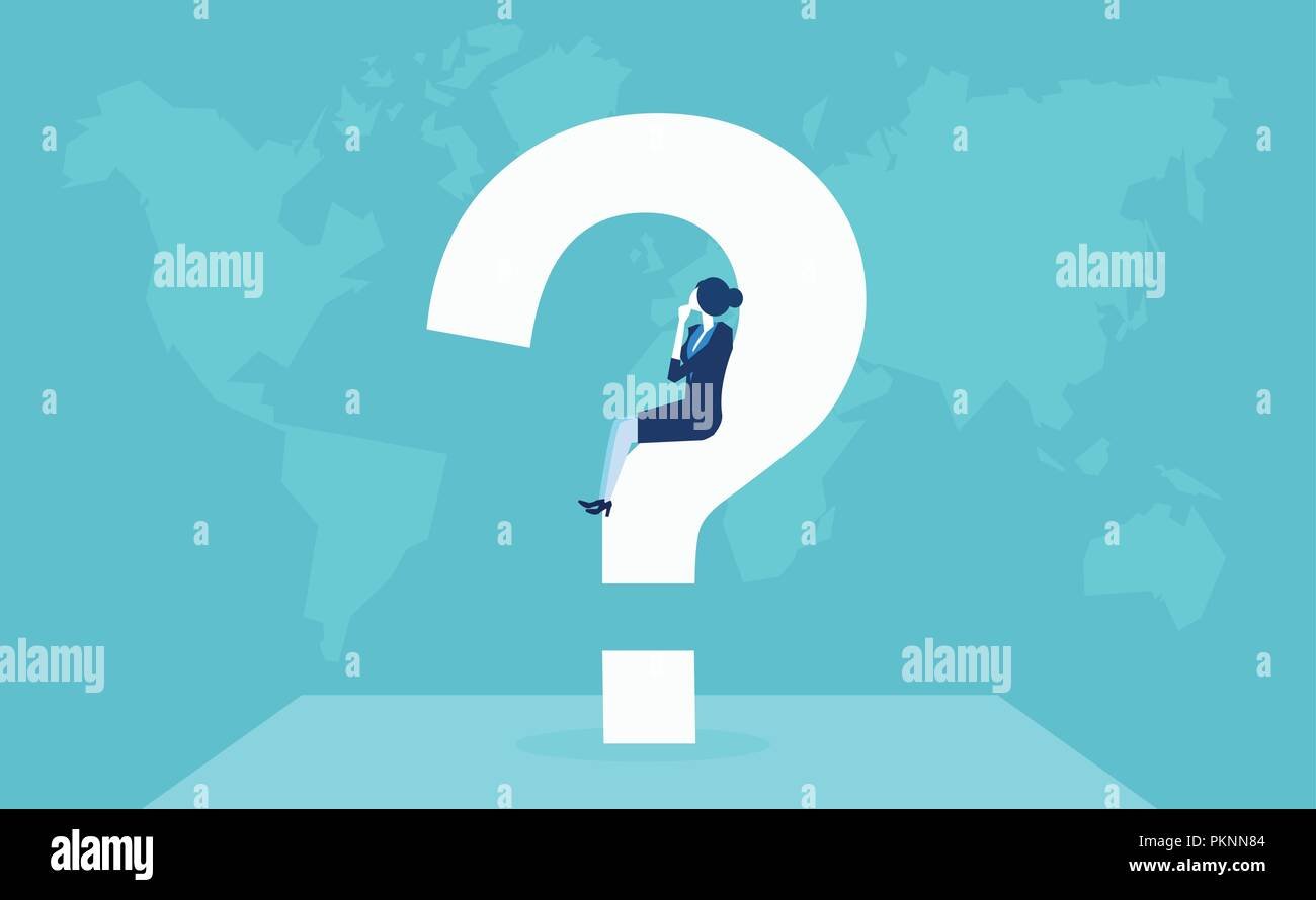Vector of businesswoman having a question thinking in doubts about future place of work and immigration opportunities - Stock Image