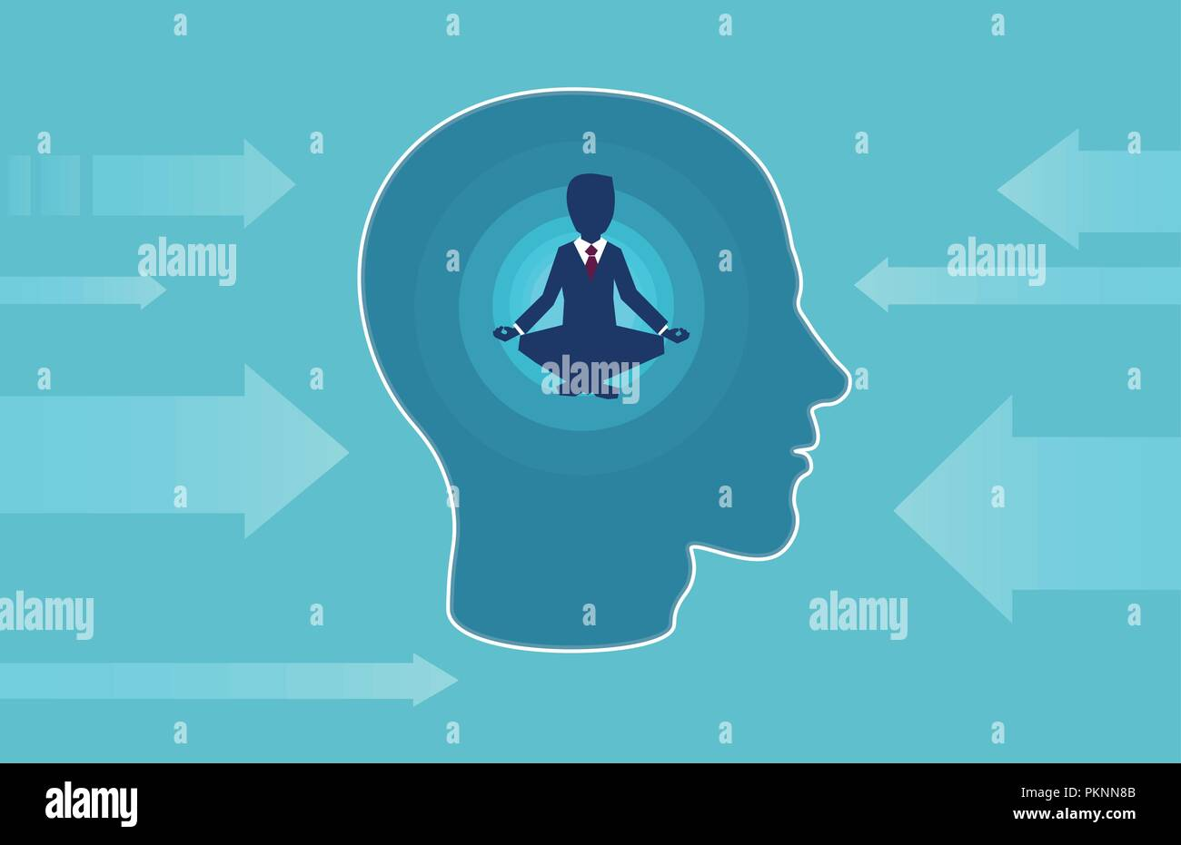 Vector of a business man inside human head doing yoga resisting outside negative influence. Peaceful mind, calm concept - Stock Image