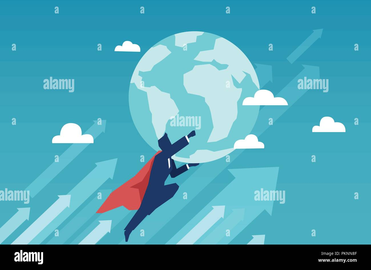 Vector of a super hero businessman flying and holding earth - Stock Vector