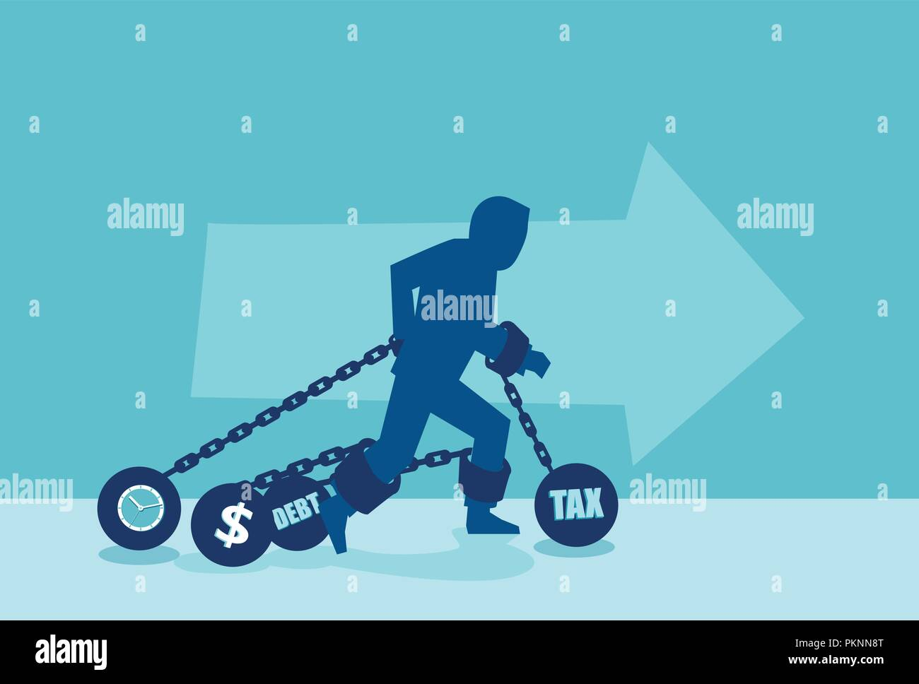 Concept vector of a man in chains of heavy debt financial obligations. - Stock Image