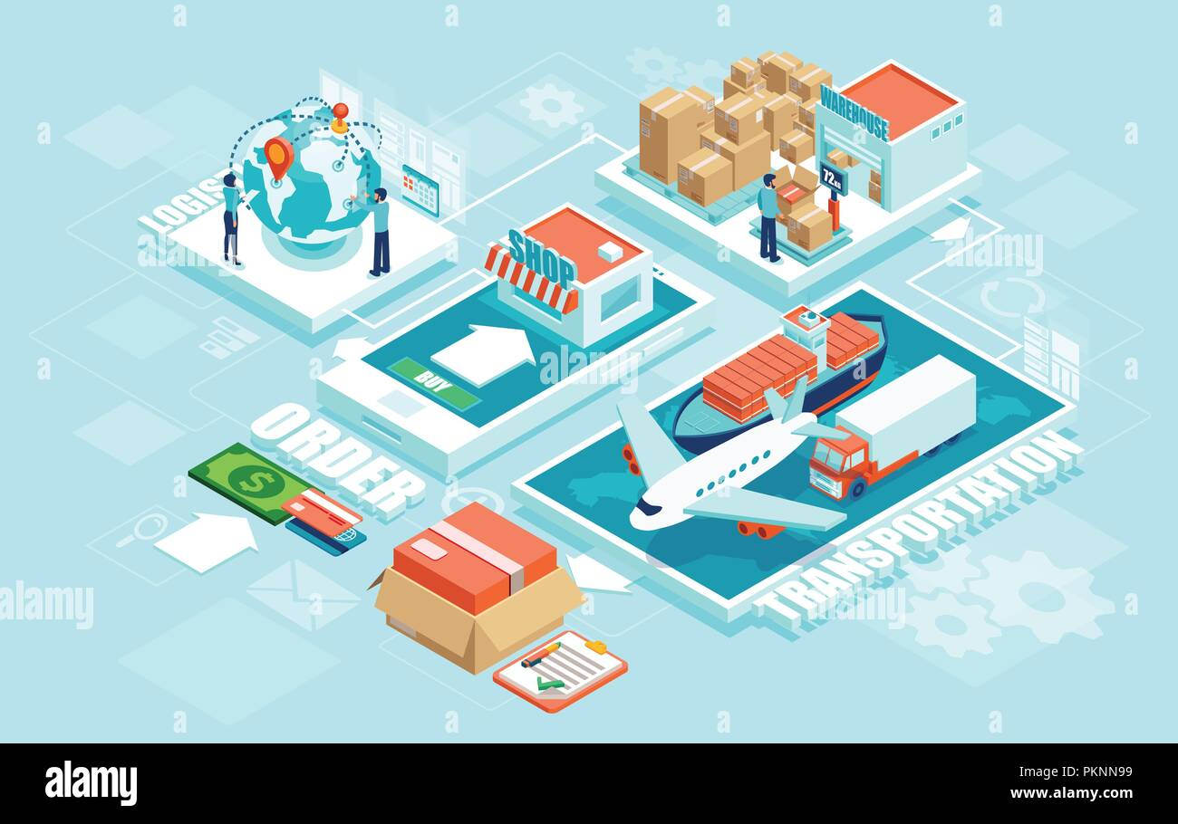 Innovative contemporary smart online order automated delivery logistics network distribution with people machinery industry 4.0 infographic. Global sh - Stock Vector
