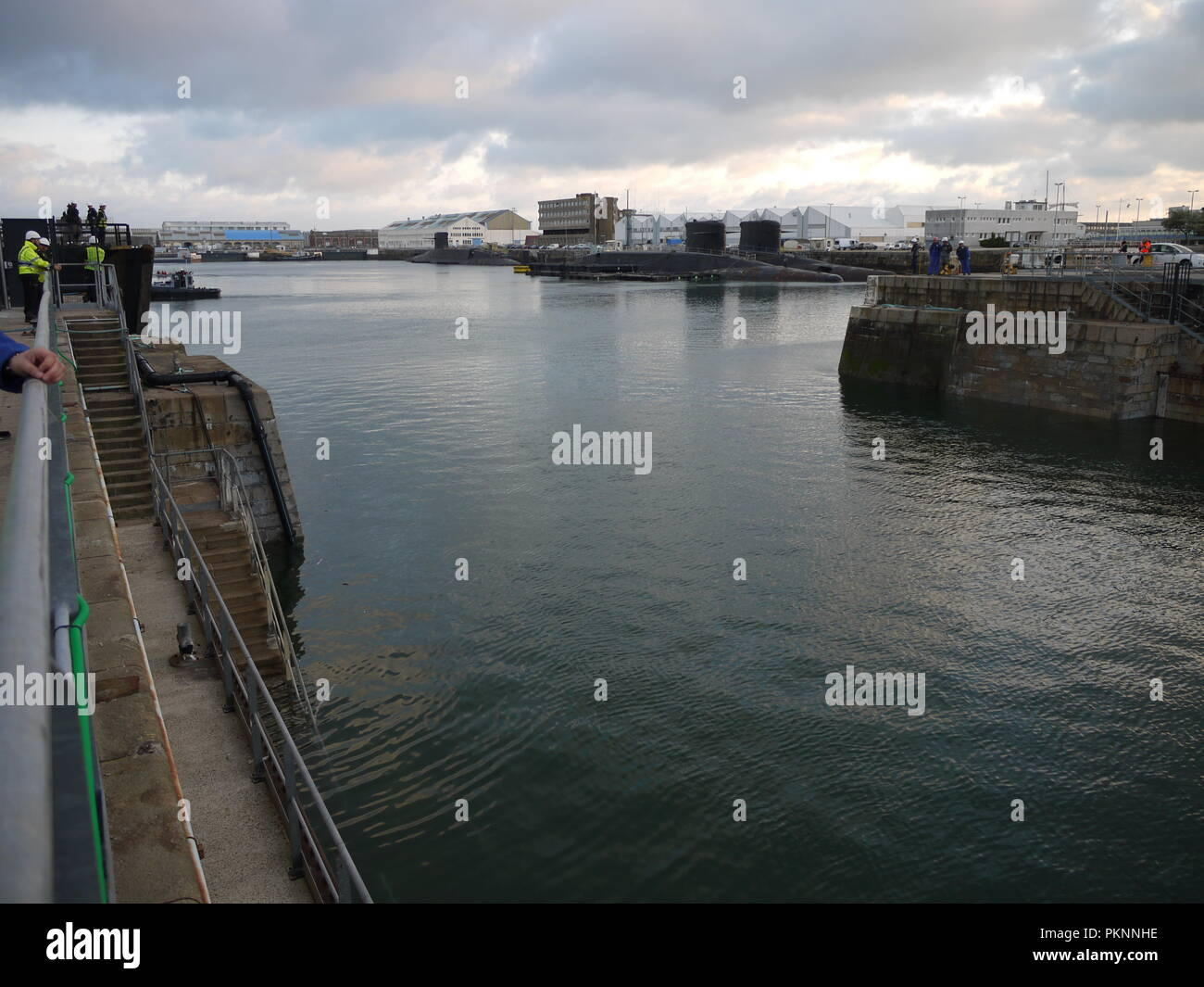 Three french missiles launchers nuclear submarines are waiting for deconstruction in military port of Cherbourg (Normandy) - Stock Image