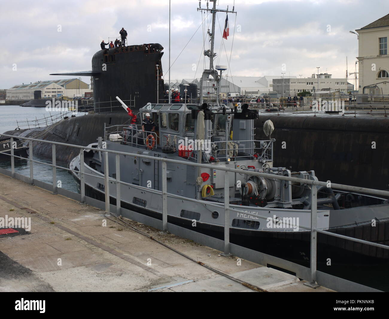 French nuclear submarine missile launcher Le Tonnant before deconstruction in Cherbourg (Normandy) - Stock Image