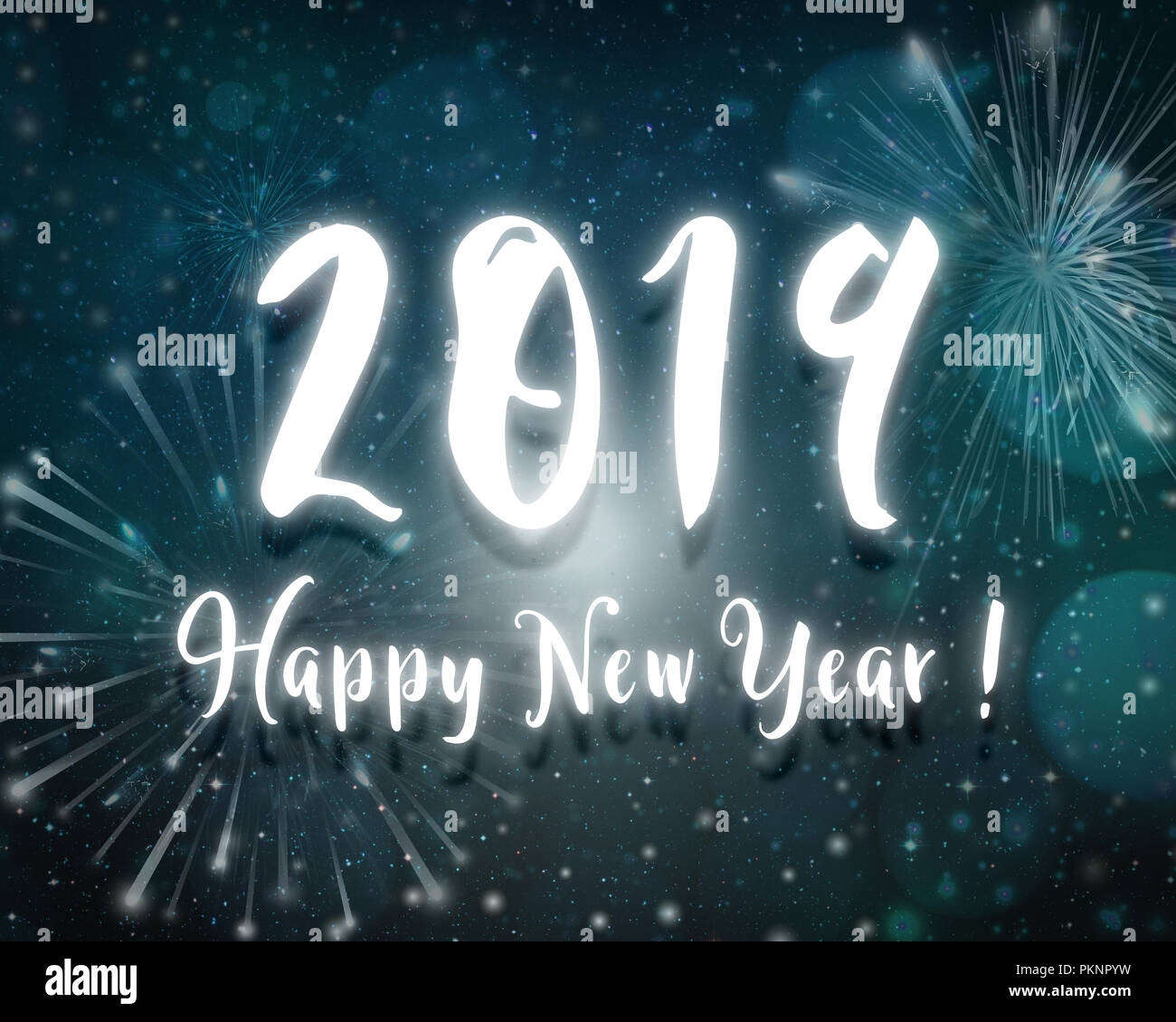 2019 happy new year text blue night background with fireworks in sky with stars