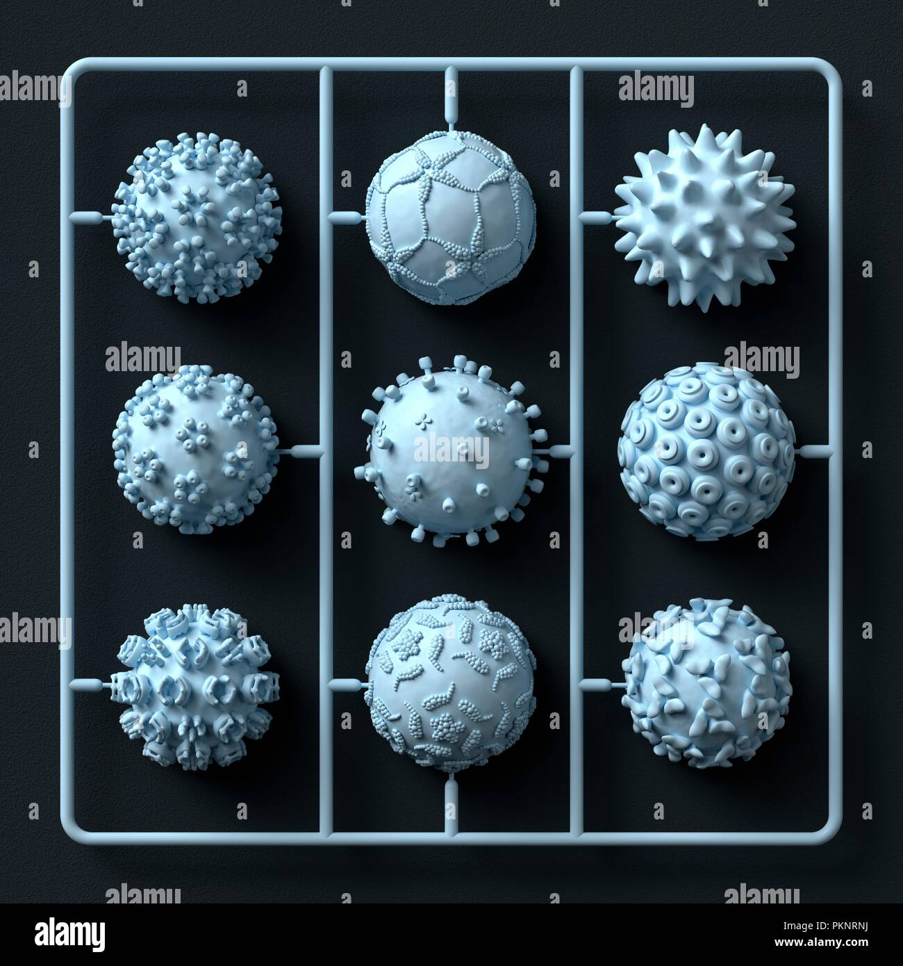 Model virus kit, illustration. - Stock Image