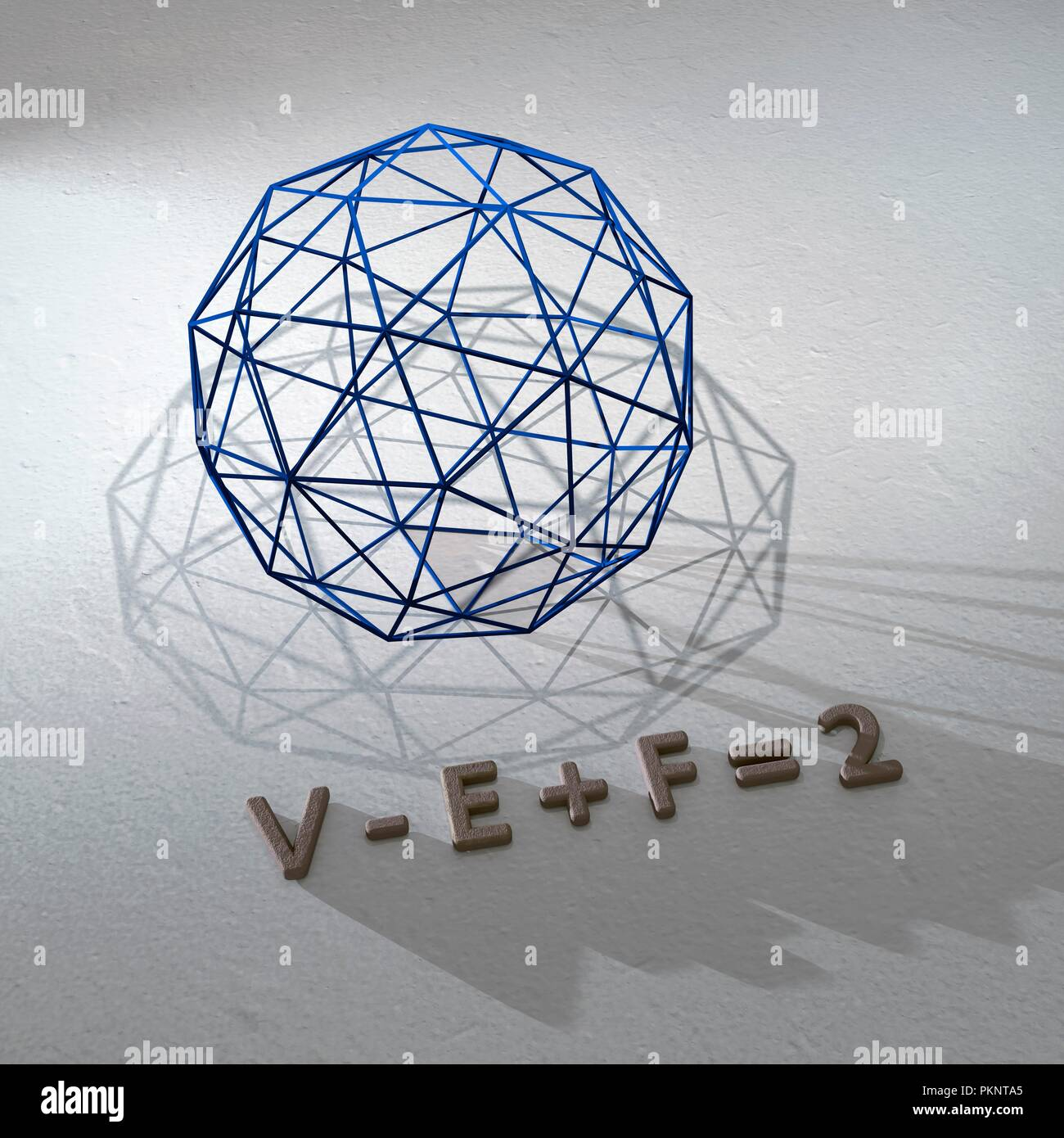 Euler's polyhedral formula. Euler's formula states that for any convex polyhedron, the number of vertices minus the number of edges plus the number of faces always equals two. - Stock Image