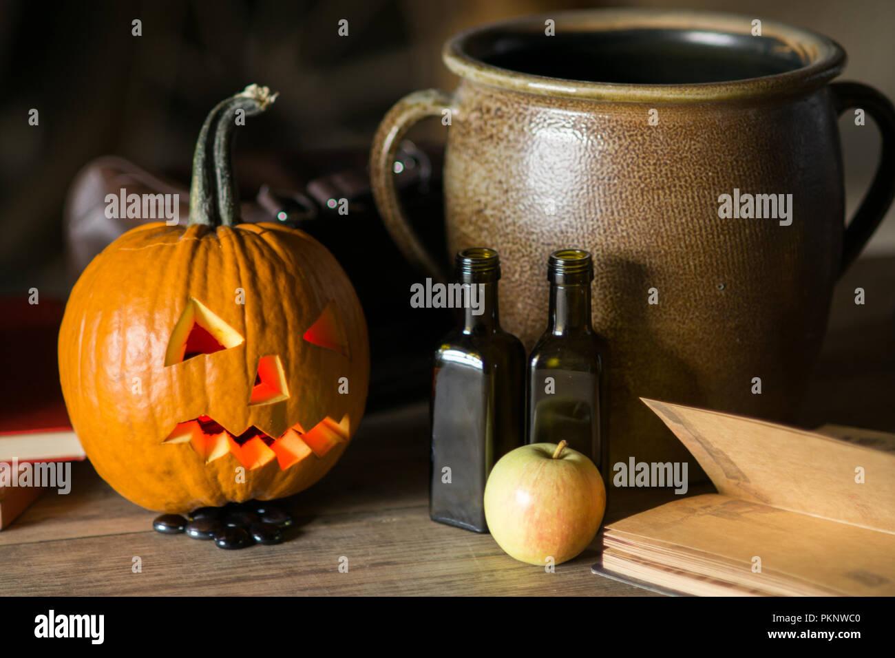 Awe Inspiring Decorations On Halloween Celebration With Pumpkin Face Pot Download Free Architecture Designs Rallybritishbridgeorg