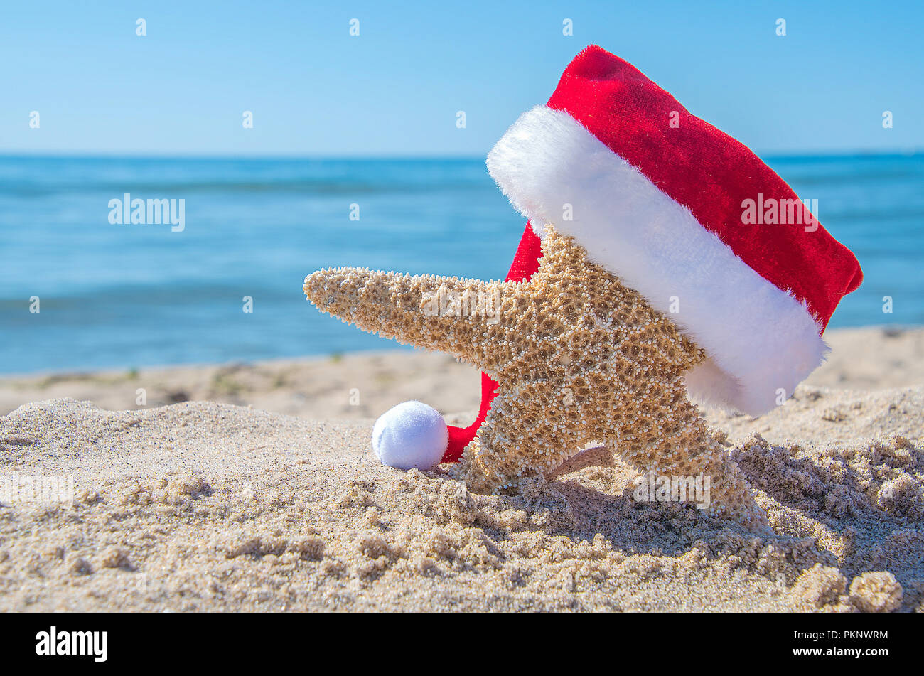 Beach Christmas.Christmas Hat On Starfish In Beach Sand With Ocean Water