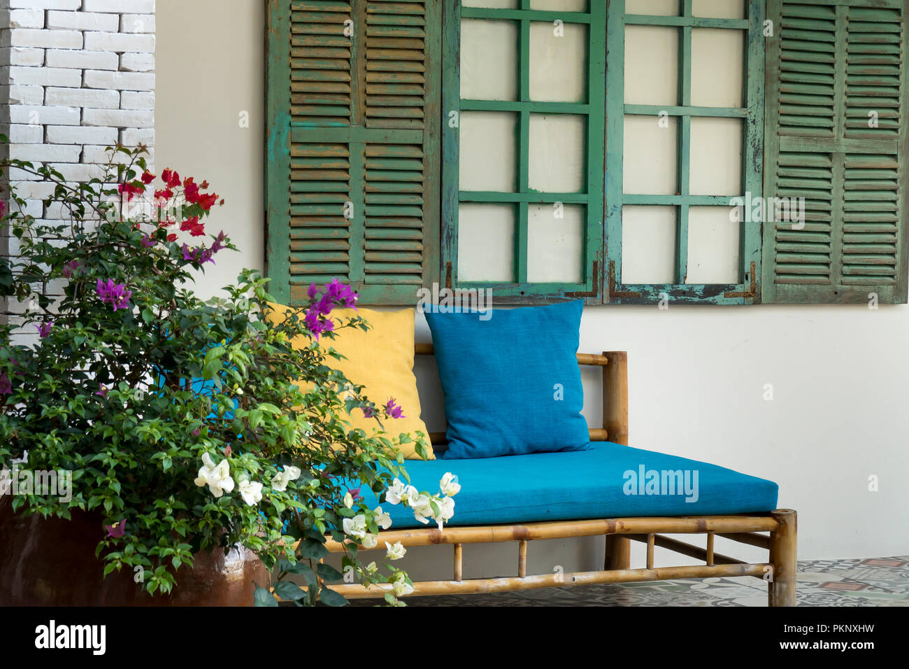 Enjoyable Bamboo Sofa Set Under The Wood Window Blue In The Tropical Bralicious Painted Fabric Chair Ideas Braliciousco