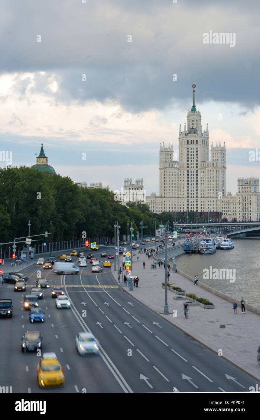 Stalinist building on the Kotelnicheskay Embankment, in Moscow, Russia - Stock Image