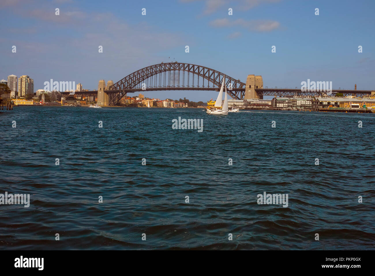 Aerial view of skyscrapers and Sydney Cove in Sydney, Australia 2012. - Stock Image