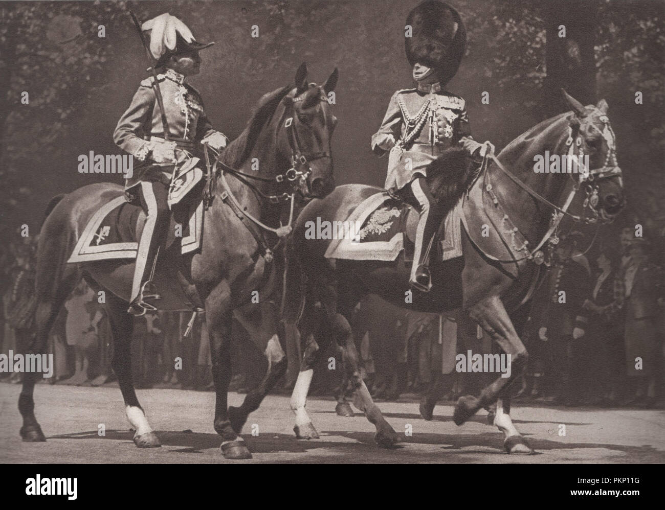 Edward the Eighth on horseback wearing military uniform at the trooping the colour ceremony in 1936 after the attempted assasination attempt by George McMahon.  McMahon aka Jerome Bannigan was arrested by the police on Constitution Hill during the trooping the colour ceremony on 16 July 1936 where he drew a revolver and threw it at the king as Edward VIII rode past.  McMahon was sentenced to 12 months imprisonment and hard labor on 14 September 1936.  He said that he was protesting the failure of authorities to respond to McMahon's reports of a plot to kill the king - Stock Image