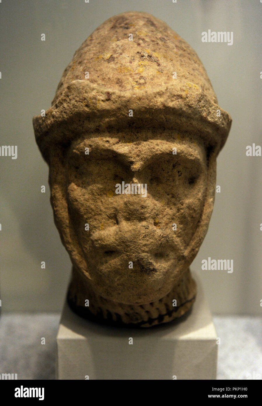 Head of a knight figure. England, 13th  century. Stone. Erworben 1994. The crusades emanated from the whole of western Europe. Most of the crusaders into the Holy Land, however, came from England and France.  The German Historical Museum. Berlin. Germany. - Stock Image
