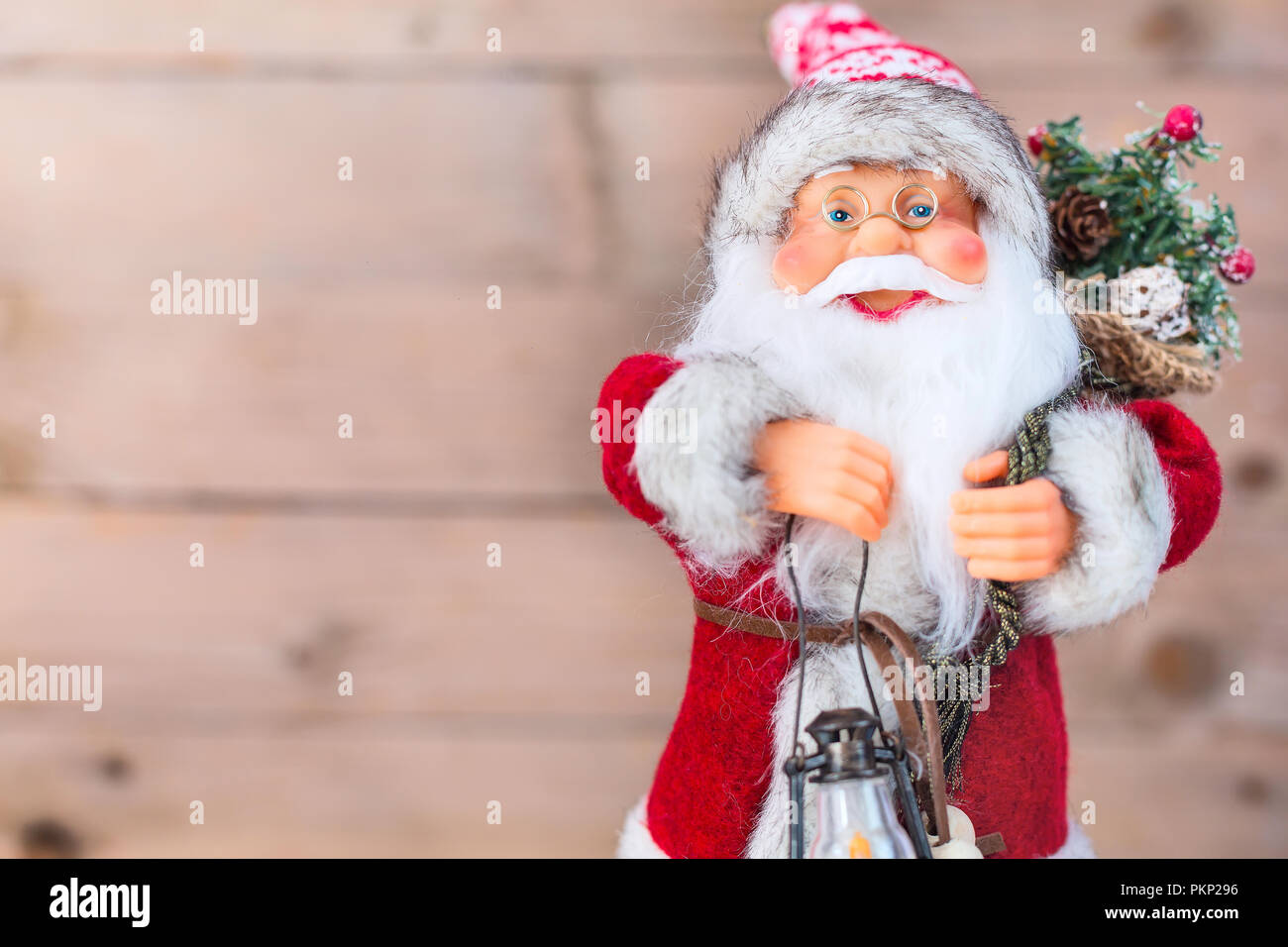 Christmas or New Year Santa Claus background with copy space - Stock Image