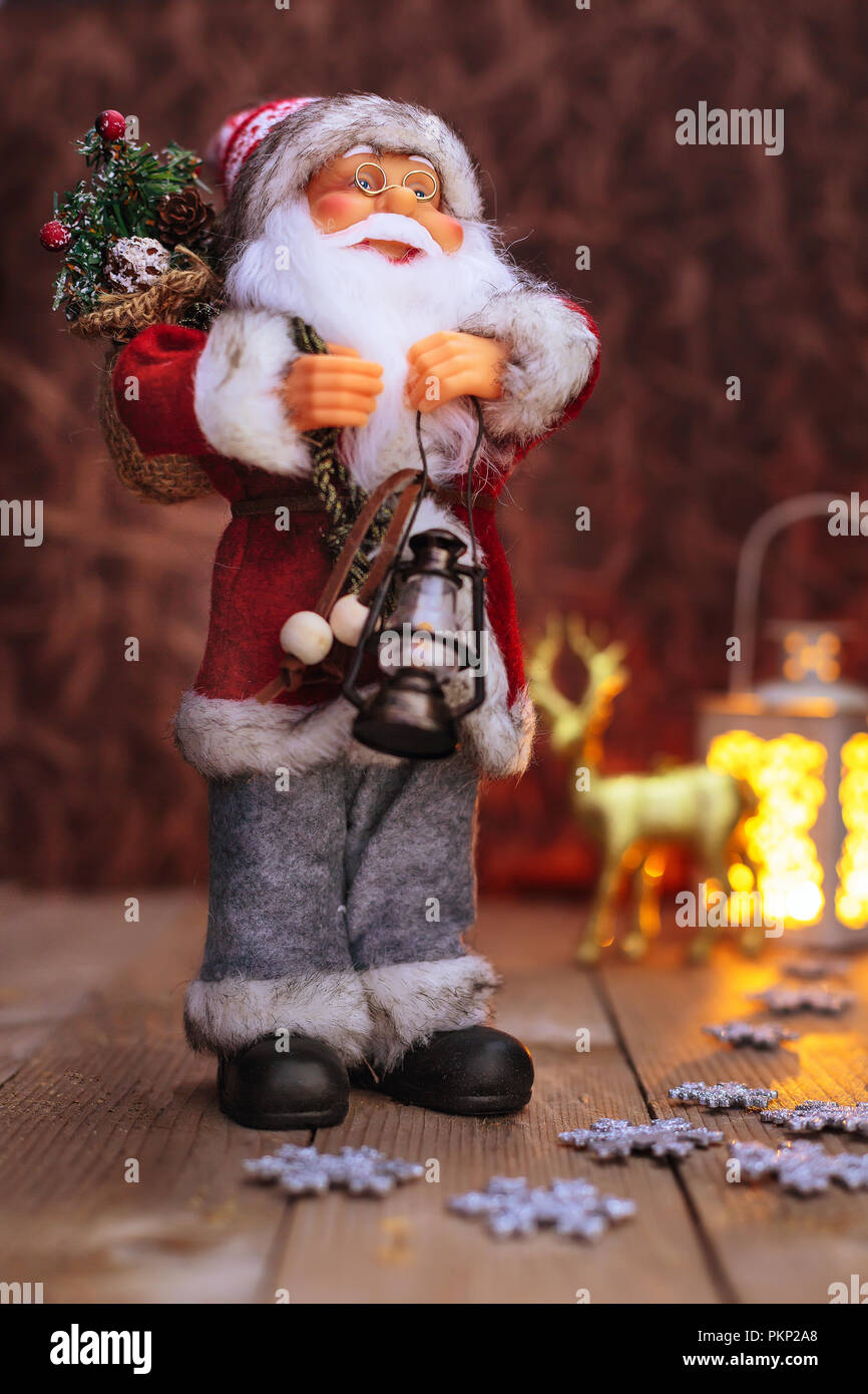 a89e9eac42021 Christmas or New Year Santa Claus background with light and reindeer ...