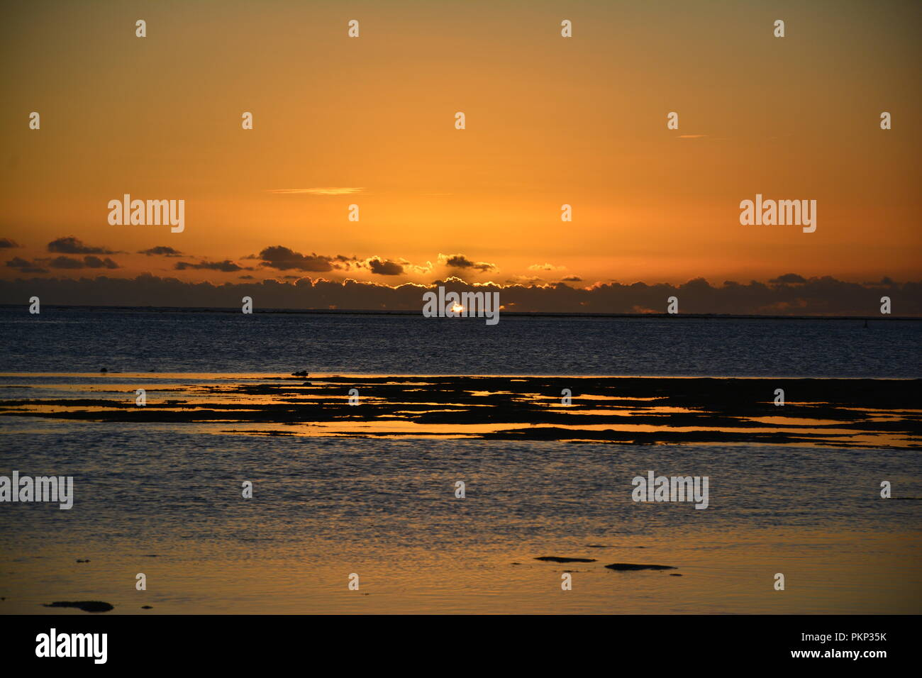Sunset Bel Ombre Beach, Mauritius - Stock Image