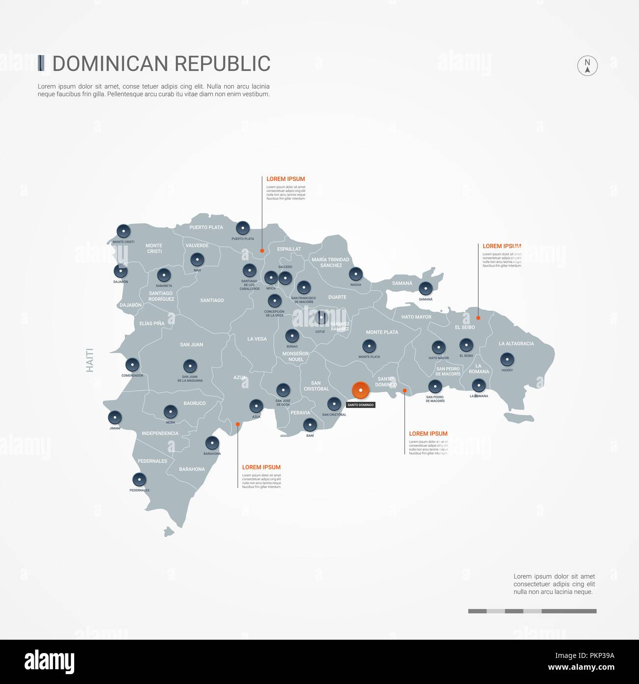 Dominican Republic map with borders, cities, capital and ... on