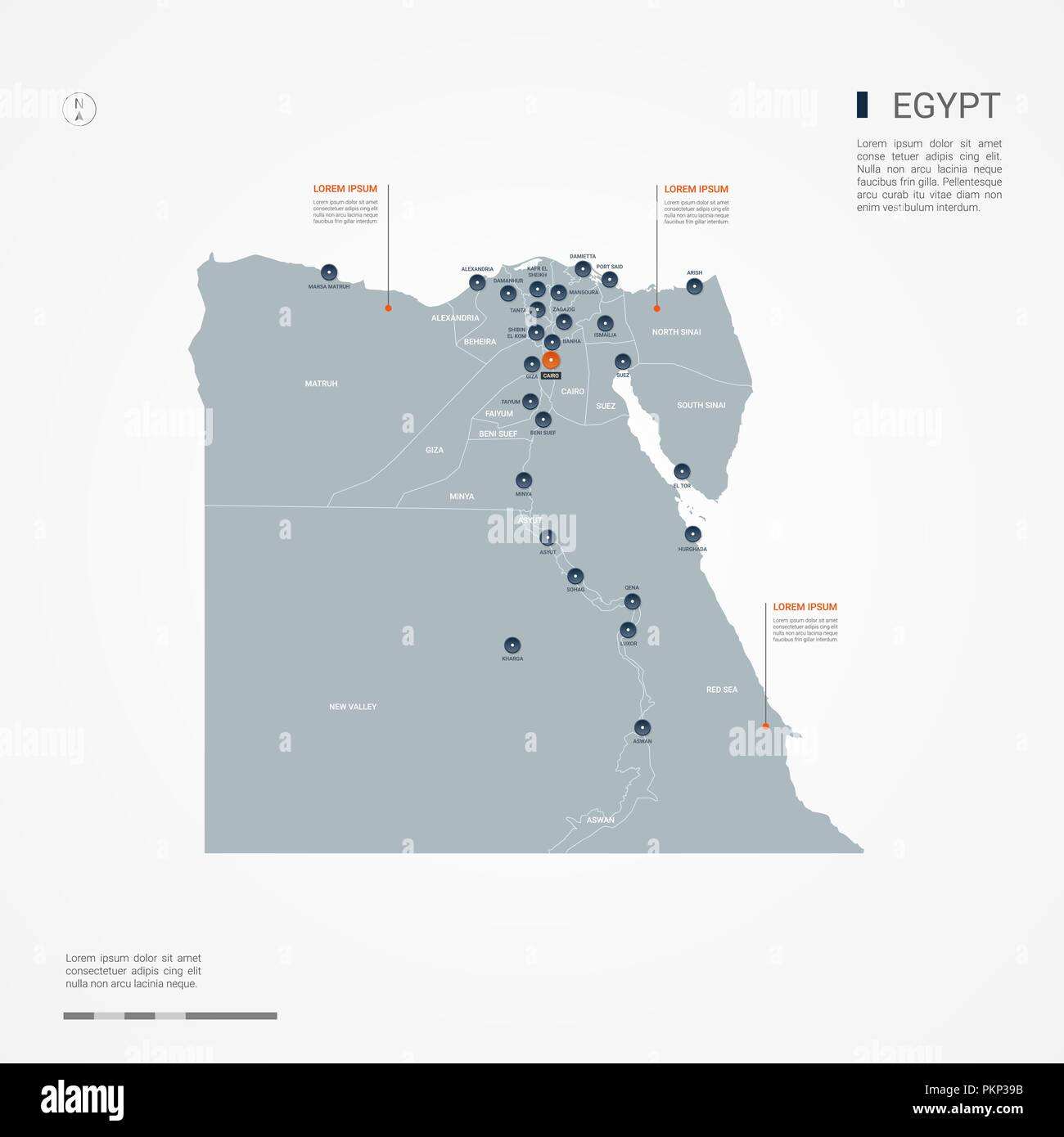 Egypt map with borders, cities, capital and administrative divisions ...