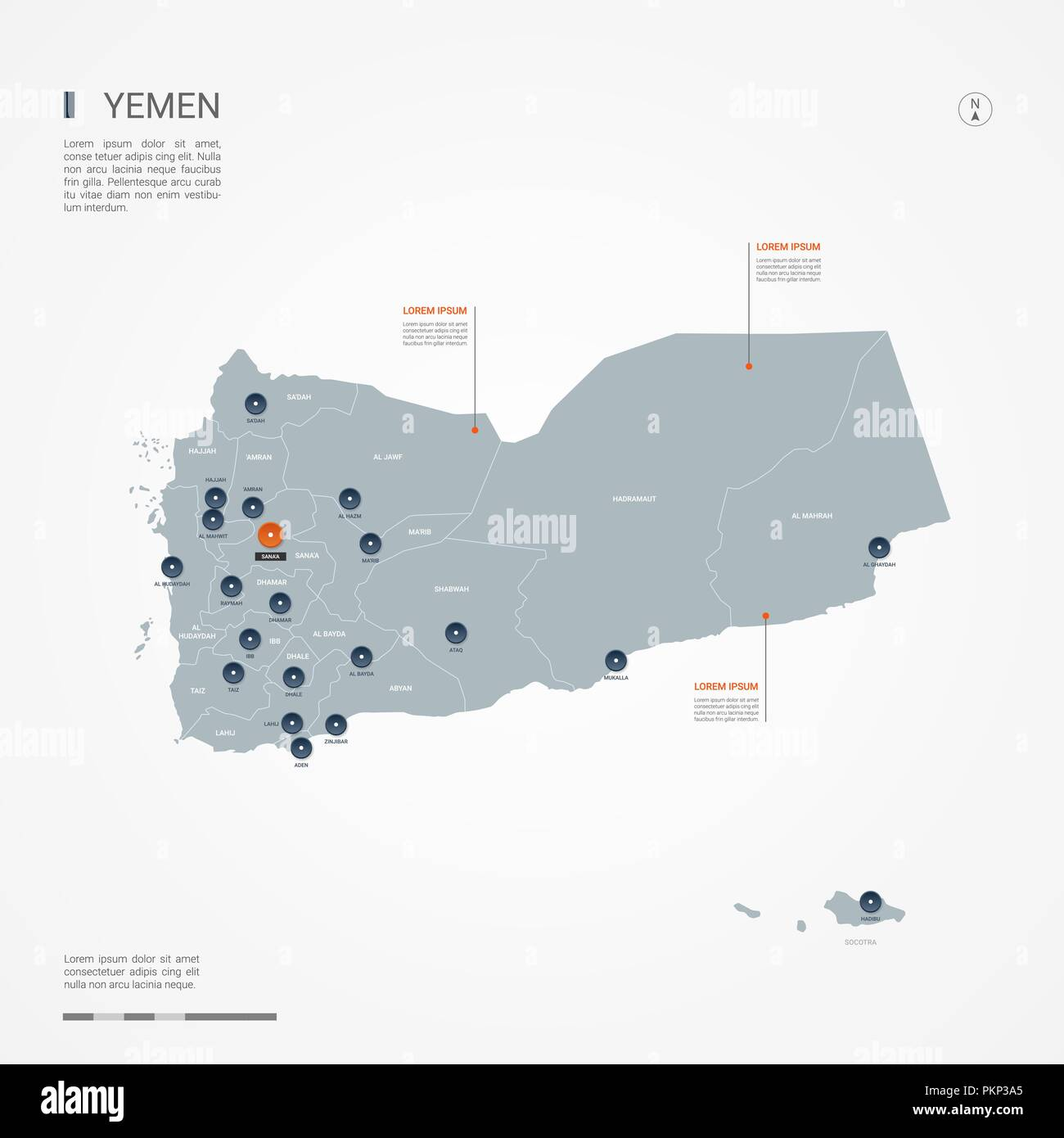 Yemen map with borders, cities, capital and administrative divisions. Infographic vector map. Editable layers clearly labeled. - Stock Vector