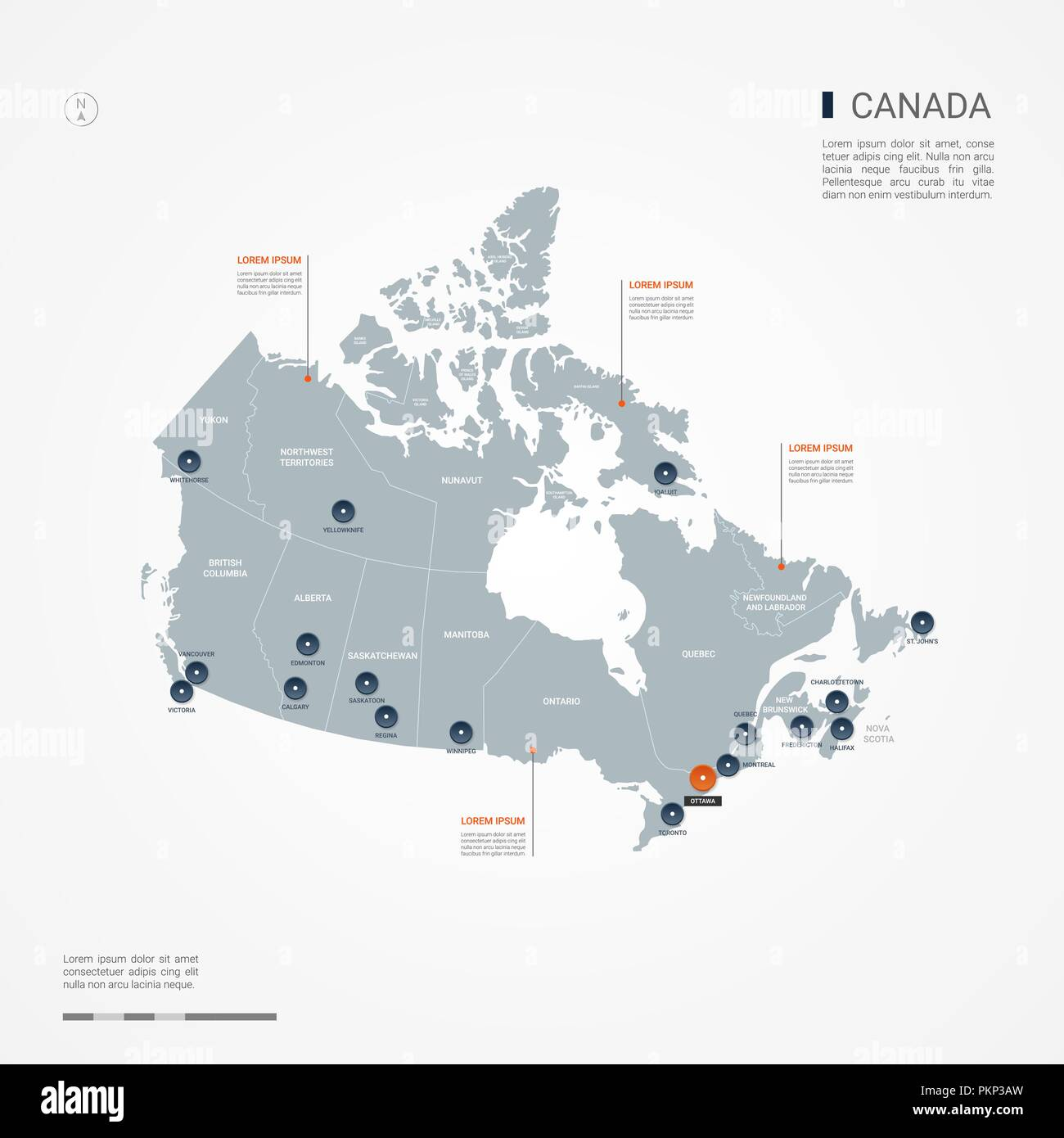 Canada map with borders, cities, capital and administrative ...
