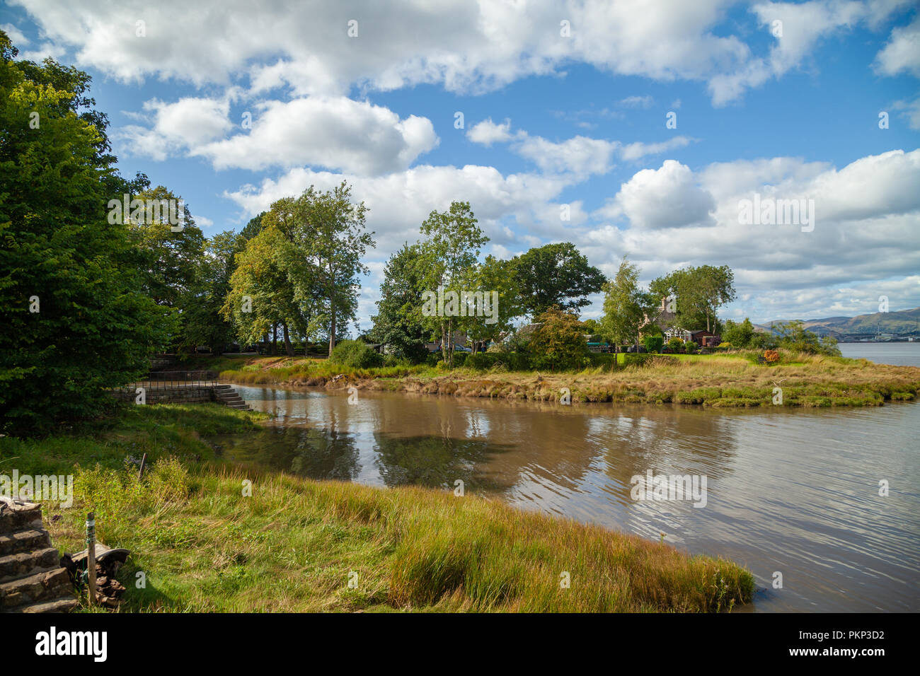 The old harbour at Dunmore Village near Airth Scotland. - Stock Image