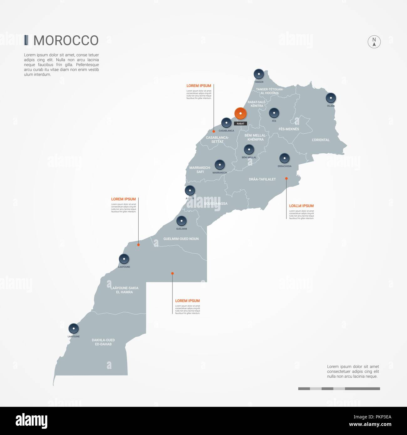 Morocco map with borders, cities, capital and administrative ...