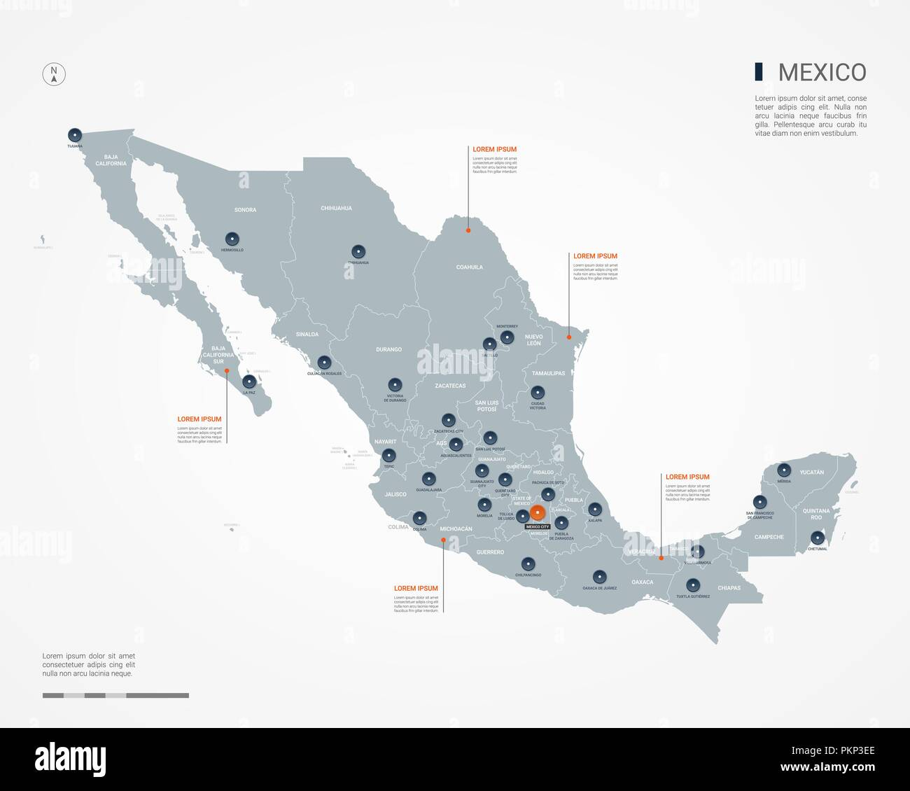 Mexico Map With Borders Cities Capital And Administrative