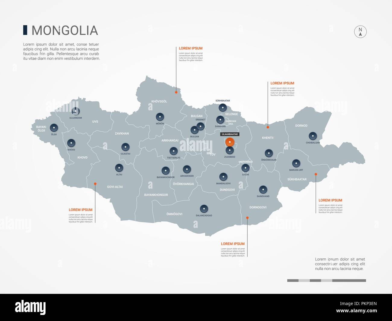 Mongolia map with borders, cities, capital and administrative divisions. Infographic vector map. Editable layers clearly labeled. - Stock Image