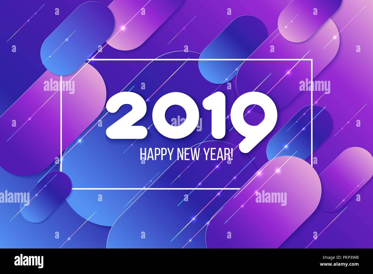 new year 2019 card gradient purple shapes composition abdstract background vector illustration