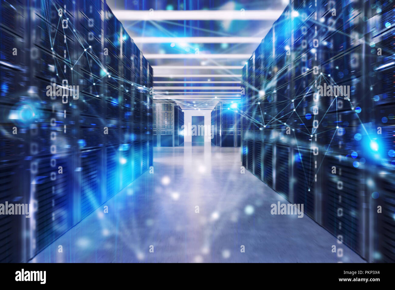 Server farm with network connection effects and codes - Stock Image