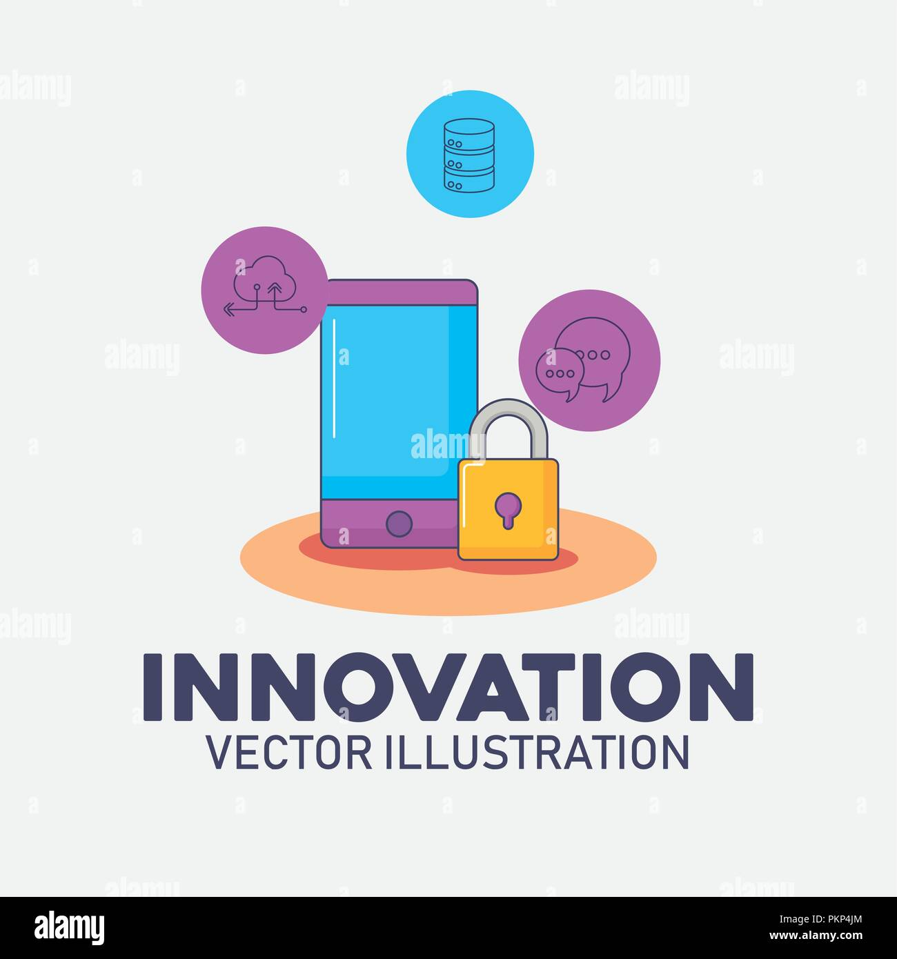 smartphone security data system technology innovation vector illustration - Stock Image