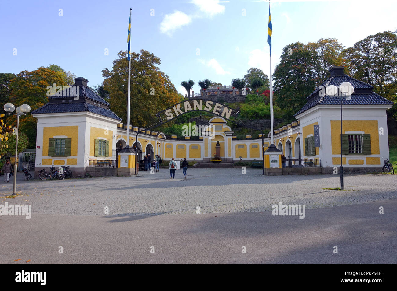 STOCKHOLM, SWEDEN - SEPTEMBER 30, 2017: Entrance to Skansen, an open-air museum and zoo in Sweden located on the island Djurgården in Stockholm. - Stock Image