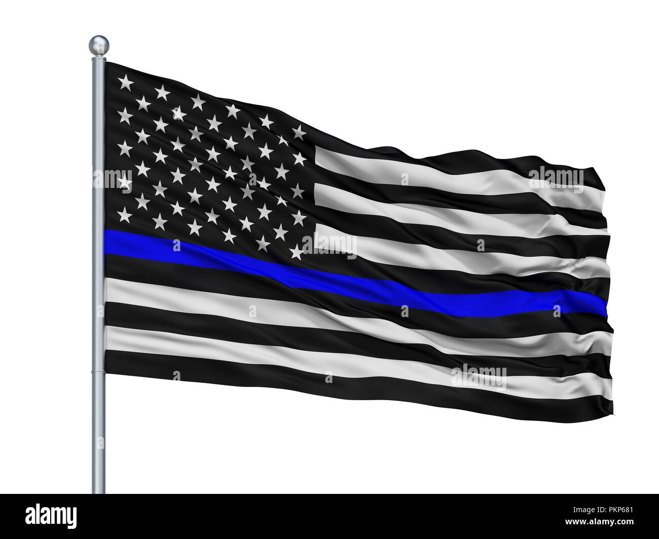 Blue Lives Matter Isolated Flag on Flagstaff, White Background, 3D Rendering Stock Photo