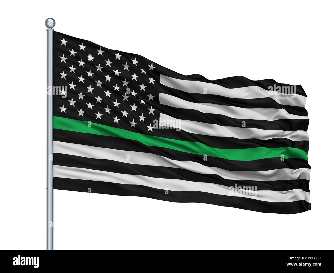 Usa Thin Green Line Isolated Flag On Flagpole With White Background, 3D Rendering - Stock Image